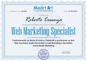 Certificato Web Marketing Specialist - Roberto Cosenza