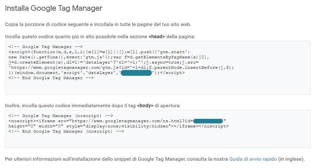 codice installazione google tag manager