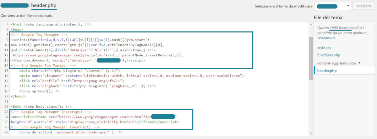 inserimento codice google tag manager nelle pagine di un sito wordpress